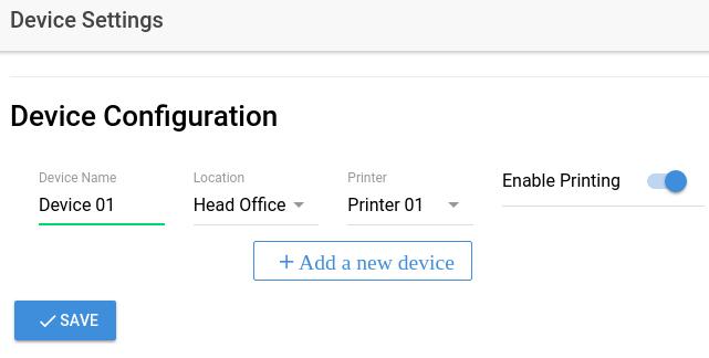 Device Configuration Screen