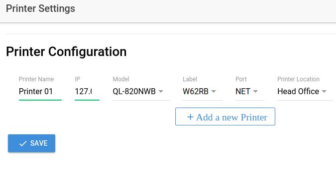Printer Configuration Screen